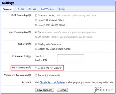 google voice do not disturb