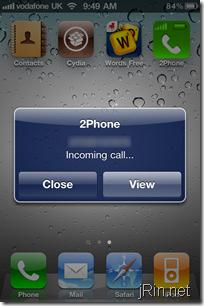 2phone incoming call