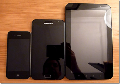 galaxy note vs iphone 4s vs galaxy tab 7